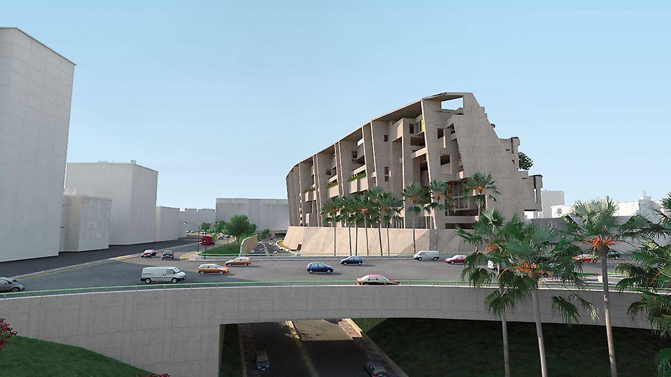 Univerzitní kampus UTEC: Univerzitní kampus vysoký 50 m působí směrem k dálnici zako strmý, umělý útes a na jih jako kaskáda. (vizualizace: Gafton Architect)