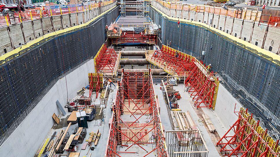 Transfer sigur al sarcinilor în timpul betonării pereților cu cofrare unilaterală cu înălțimi până la 8.75 m