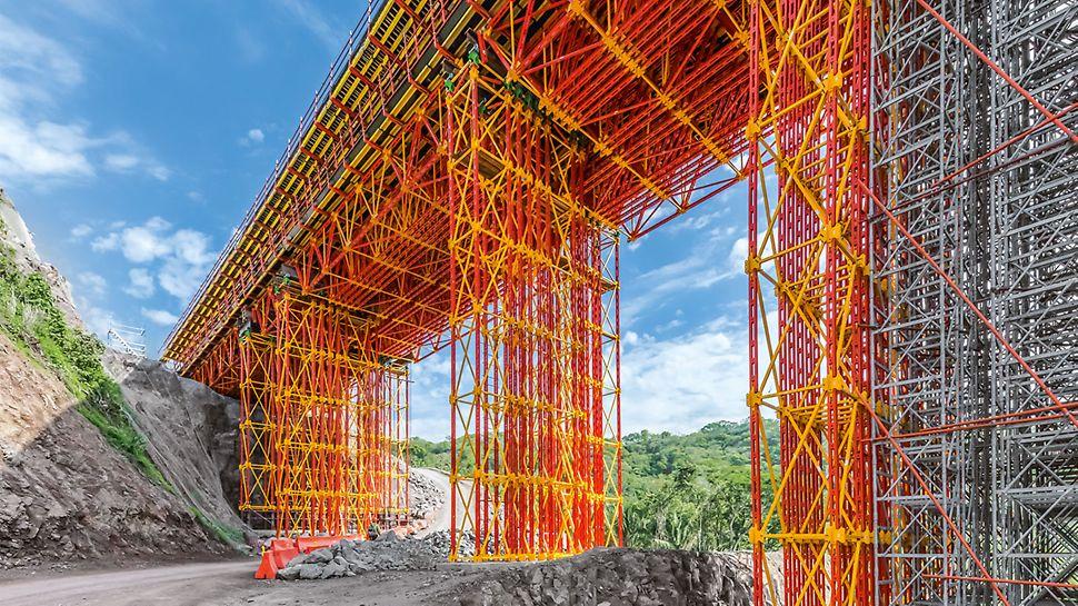 Der ALPHAKIT Rüstbinder dient der Abtragung von Lasten aus Ortbeton oder Fertigteilen im Brücken- und Hochbau.