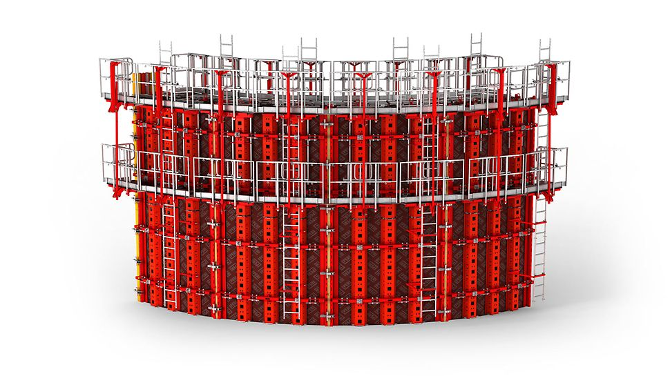 RUNDFLEX Plus Circular Formwork: With its adjustable standard panels, RUNDFLEX Plus avoids cost-intensive reassembly or special formwork modifications. PERI forskaling Domino Duo panel dekke