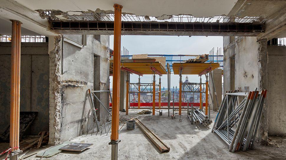 Les étais MULTIPROP ont prouvé leur efficacité dans toutes les phases de ce projet : tant lors des travaux de démolition que pendant la phase de reconstruction.