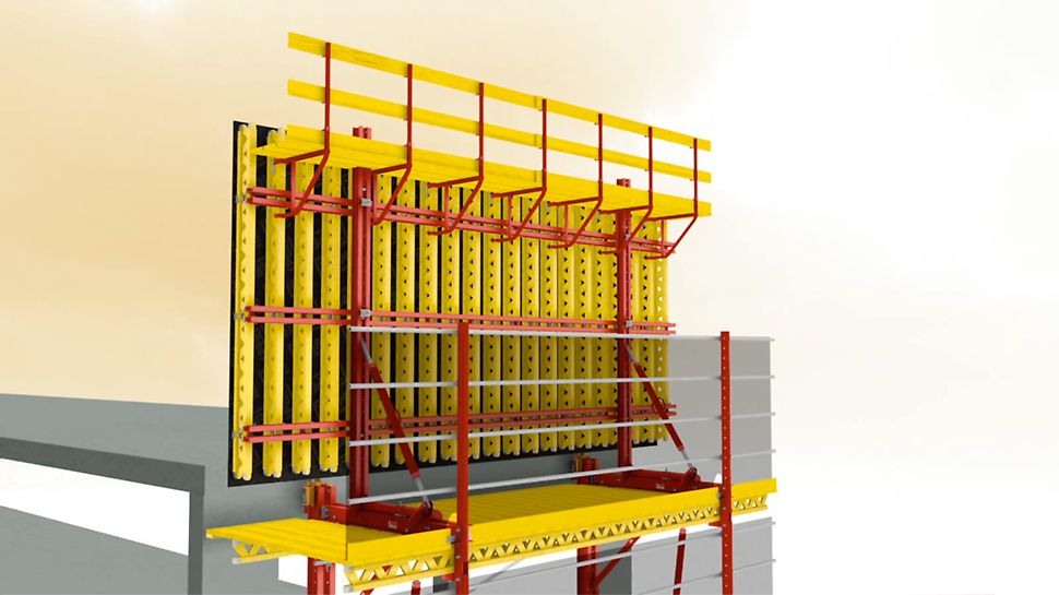 The universal modular climbing system for a wide range of applications. Application as Rail Climbing formwork.