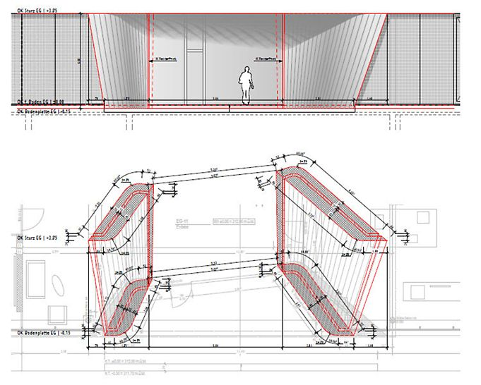 Situationsplan des Eingangbereichs mit Vermassung