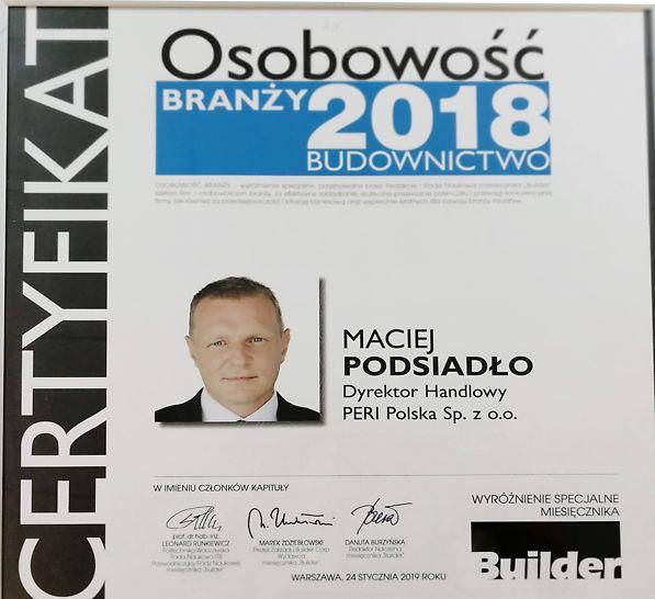 Osobowość Branży 2018 - Maciej Podsiadło Dyrektor Handlowy PERI Polska