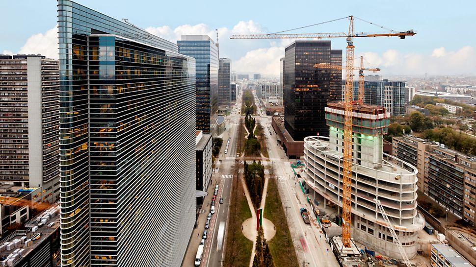 In het zakelijke district van Brussel aan het Noordstation bouwt het aannemersbedrijf Interbuild een nieuwe Europese hoofdzetel voor verzekeringsmaatschappij Allianz.