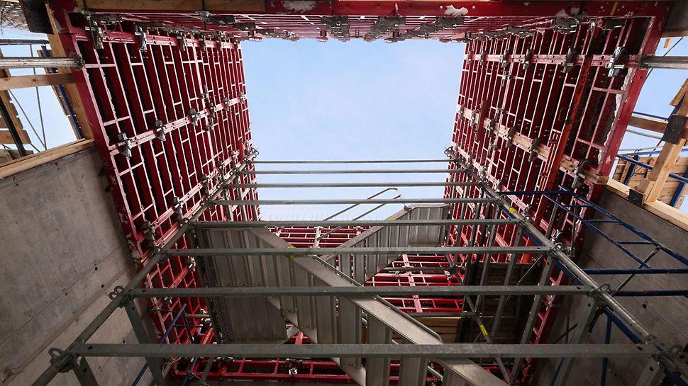 бетонирование лифтовых шахт, опалубка для шахт, шахтный элемент