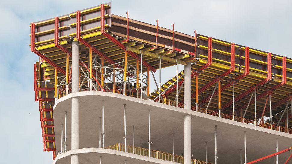Projektspezifisch geplante Sondertische im Bereich der gerundeten Gebäudeecken.
