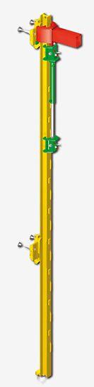 La commande grimpante PERI forme le cœur de toutes les variantes ACS. Le système à cliquet à commande forcée travaille de manière automatique et sûre avec une vitesse de levage de 0,5 m/min.