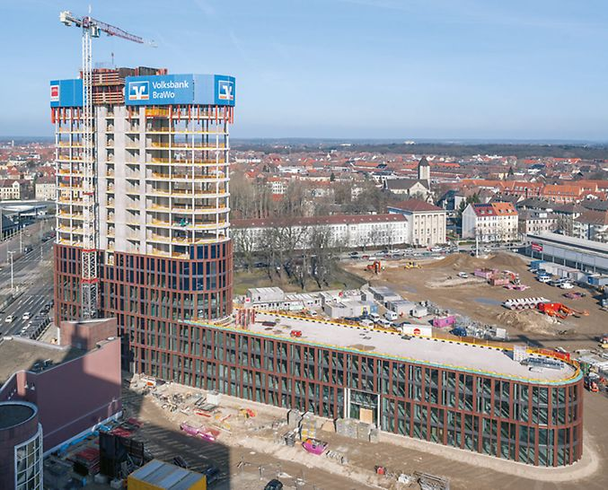 "Picture of the complete shell structure of the ""BraWoPark Business Center II"" in Braunschweig."