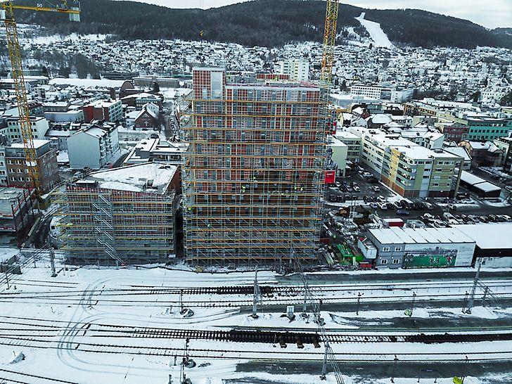 Drammen stasjon - PERI UP - høyder opptil 47,5 meter
