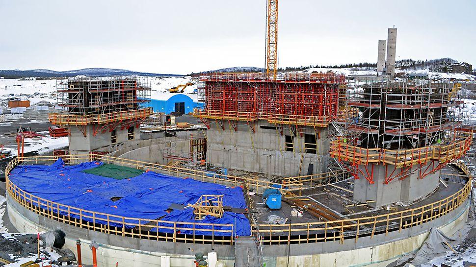Kirunas nya stadshus - Vattentäta ytterväggar gjuts med RUNDFLEX med kompositstag.