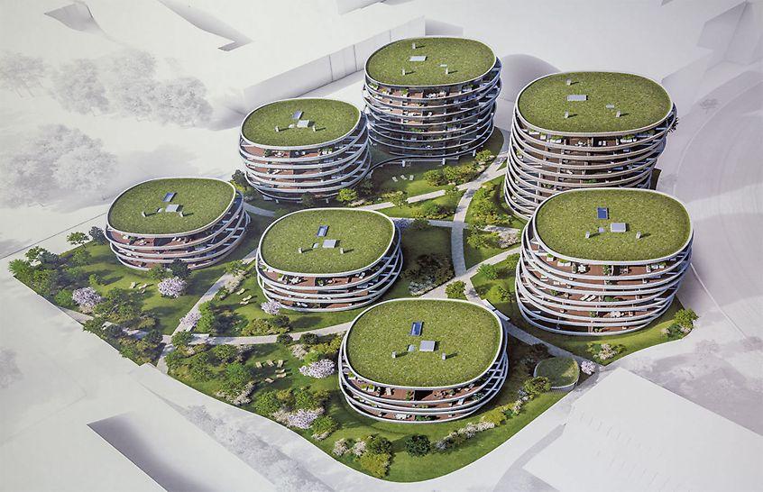 Die umlaufenden, organisch geformten Balkone verleihen dem Wohnpark ein extravagantes Aussehen und bieten außergewöhnlichen Wohnkomfort.