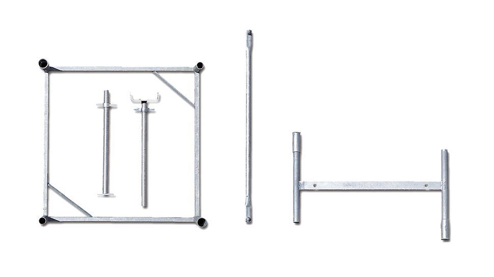 Cualquier altura de torre se monta con solo 5 componentes estándar y un tramo de husillo de 63 cm