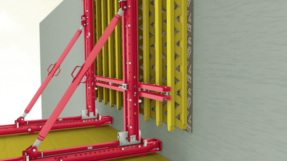 The solid bracket system for single-sided and two-sided applications. Application as single-sided climbing formwork.