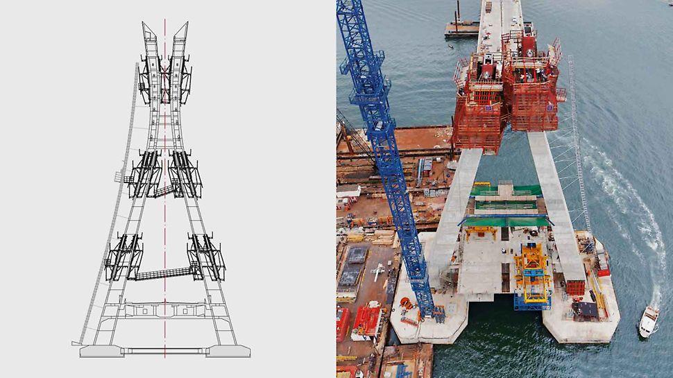 A PERI tervezte ennek a 90 m magas pilonnak a kúszózsalu megoldását feljáró technológiával és lift megoldással együtt.