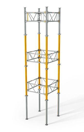 Pour l'édification d'une tour, les cadres MULTIPROP sont assemblés à l'aide de coins imperdables. Ils peuvent être montés indifféremment sur les fûts intérieurs ou extérieurs sans qu'il soit nécessaire de modifier les plans au sol.