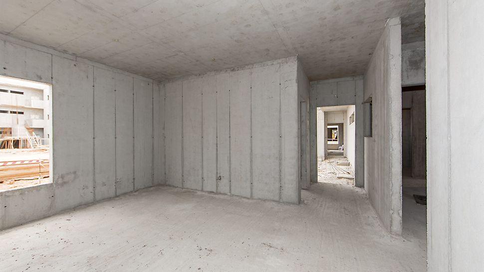 Nach dem Aushärten wurden zuerst die Wände, anschließend die Decken ausgeschalt.