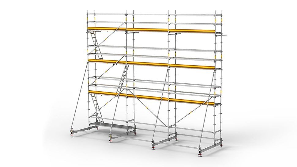 The PERI UP Rosett R scaffold system is a modular reinforcement scaffold for efficient work.