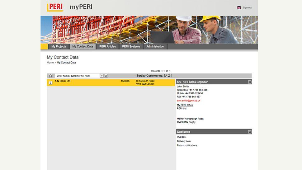 myPERI sučelje sa svim PERI podacima za kontakt