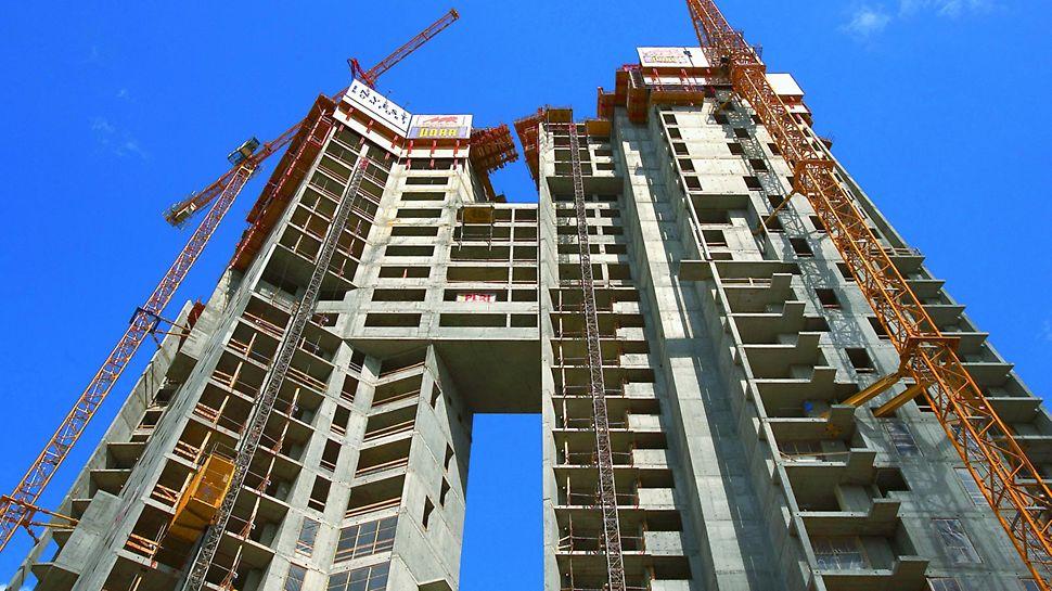 Sea Towers, Obiekt składa się z dwóch połączonych ze sobą wież o wysokości 28 i 36 kondygnacji.