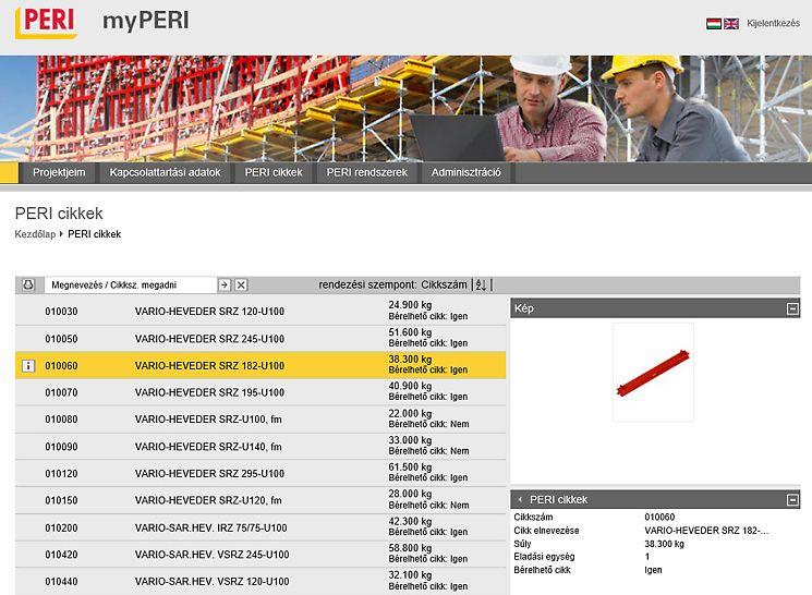 myPERI felhasználói felület - PERI termékek 3D-ben, pontos cikk ábrázolással és súly megjelöléssel