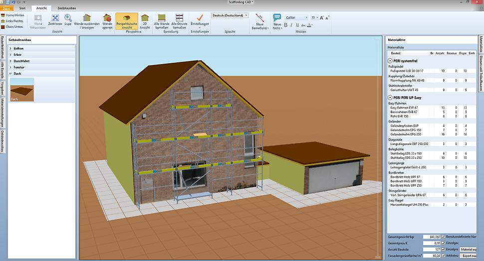 Scaffolding CAD berechnet neben der Aufbauweise auch die Materiallisten, anhand derer Gerüst bestellt oder vorbereitet werden kann.