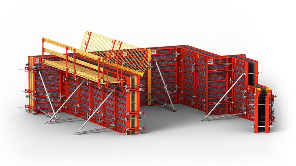 Lle coffrage cadre léger pour la construction de fondations ou de bâtiments, avec des éléments en acier ou en aluminium.