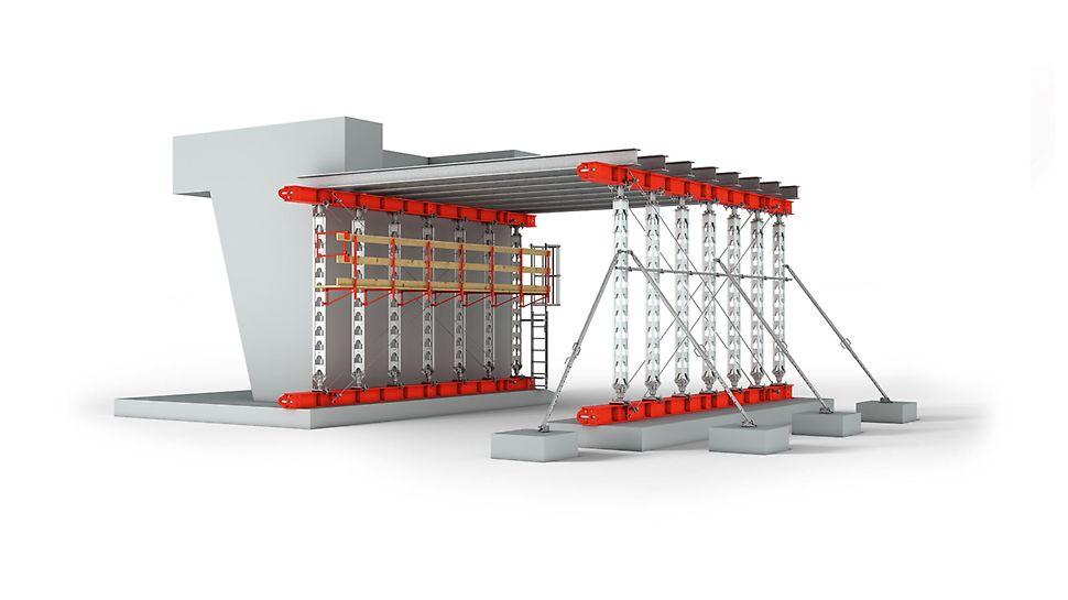 Vysokopevnostní podpěry HD 200: Podpěry pro zatížení do 200 kN s montáží bez použití nářadí.