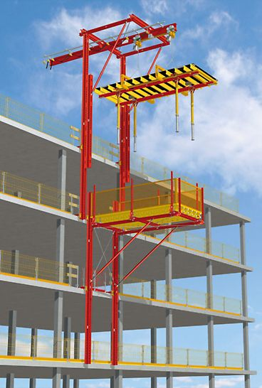 Lifting bracket and landing platform: Following the drawer principle, the slab tables are moved into the table lifting unit. The topmost guardrail remains intact – the load is simply moved across it.