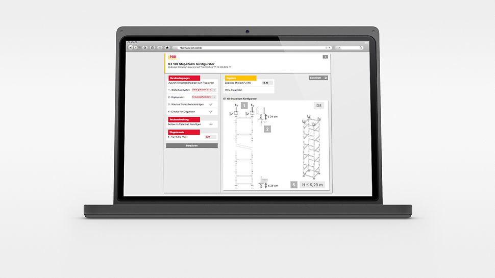The ST 100 Stacking Tower Configurator for the calculation of the permissible leg loads and the minimum loads against sliding.