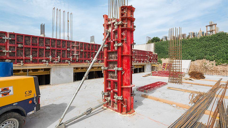 Zum Schalen der Stahlbetonsäulen wurde die SRS Stahlrundsäulenschalung eingesetzt – teilweise in Kombination mit MAXIMO Elementen.