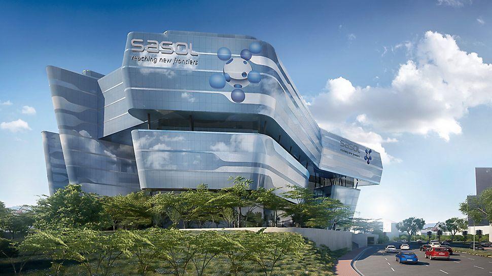 Eine außergewöhnliche Glasfassade umhüllt die neue Sasol-Unternehmenszentrale.