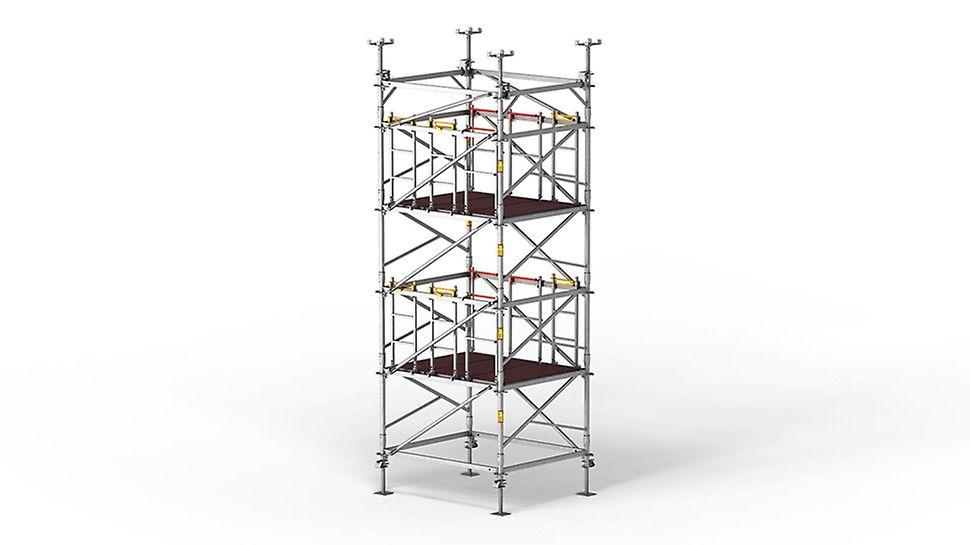 Der Stützturm mit systemintegrierter Sicherheit beim stehenden Auf- und Abbau
