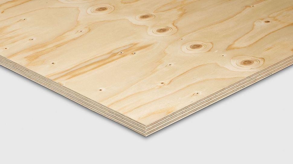 FinNaPly Sperrholzplatte von PERI besteht aus einem 7-fachen Aufbau aus nordischen Fichtenfurnieren.