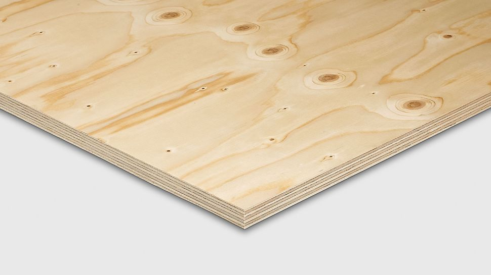 FinNaPly plywood from PERI has a 7-ply construction from Nordic spruce veneers. This plywood  is high-quality and lightweight and therefore ideal  for construction purposes. OSB finer finèr kryssfiner plate tre panel PERI spon forskalingsfiner prefab industri