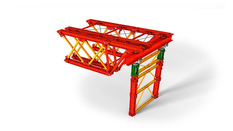VARIOKIT teška nosiva skela: i toranj za teška opterećenja i konzolni spojni element precizno se mogu namjestiti na odgovarajuću visinu i dužinu.