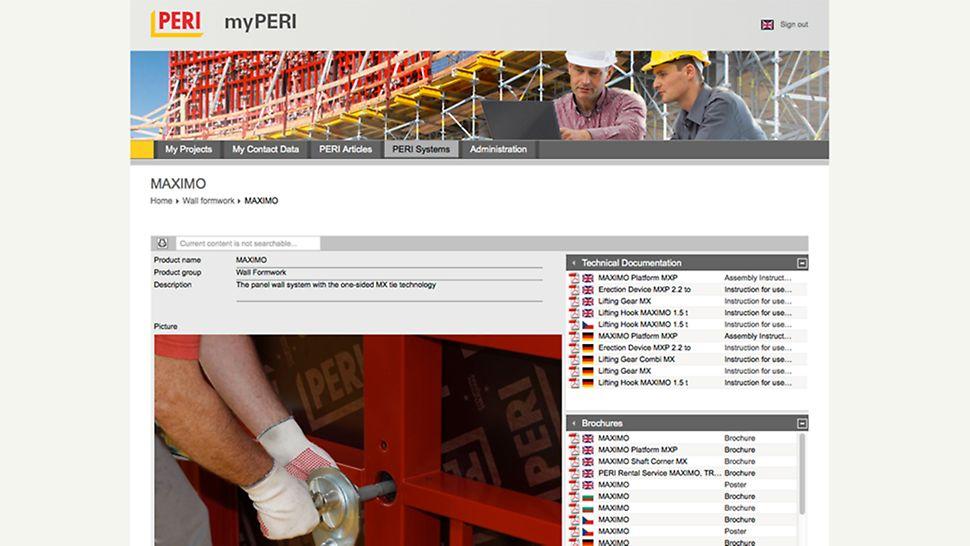 myPERI - návod na montáž: kliknutím myši sú hneď k dispozícii: údaje a brožúry, ktoré pomáhajú pri montáži a efektívnom využívaní PERI systémov.