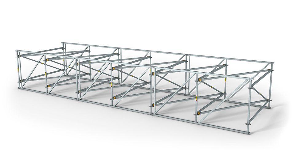 Das Fachwerkbindersystem PERI LGS läßt sich einfach an die unterschiedlichsten Gebäudegeometrien anpassen.