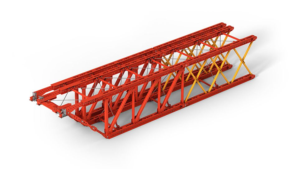 The system consists of different types of  load and length optimized frames, which enable to continuously create every span with the corresponding combination. Systemet består av forskjellige typer komponenter som er optimalisert i forhold til lengde og bæreevne, hvilket gjør det mulig å dekke alle spekter av lengdekombinasjoner