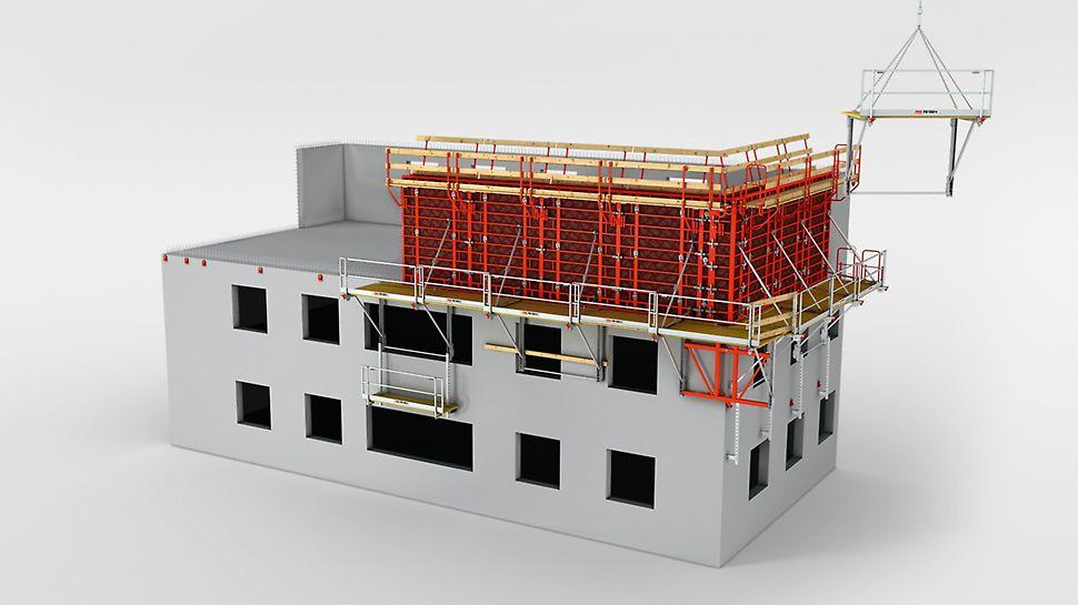 Die kranbare FB Faltbühne ist als universelles Arbeits- und Schutzgerüst im Betonbau mit Schalungen bis 5,40 m Höhe einsetzbar. Zudem kann sie als Dachfanggerüst verwendet werden. Das System besteht aus einer Hauptbühne, einer Zwischenbühne und einer Falteckbühne und deckt mit nur drei Systemteilen alle Bauwerksgeometrien ab. Die FB Faltbühne wird komplett vormontiert auf die Baustelle geliefert.