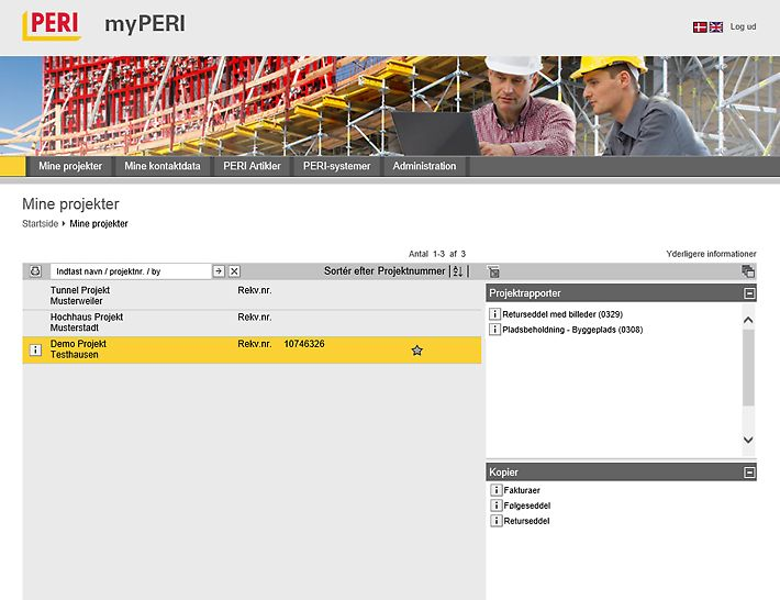 I myPERI, kan kunderne finde alle aktive byggepladser. Her lagres rapporter og andre hjælpefulde documenter fra byggepladserne.