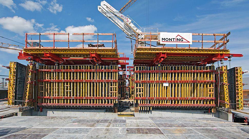 Turnul din Varșovia - Datorită utilizării cofrajului cu grinzi pentru pereți VARIO GT 24, echipa de execuție a obținut o suprafață de înaltă calitate a betonului pentru zonele de pereți eliptici ai nucleului central.