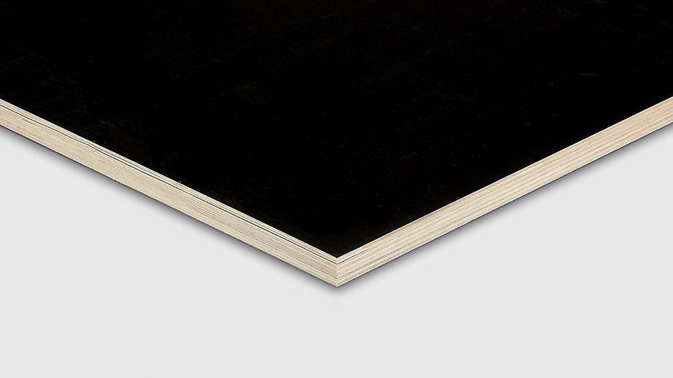 Coated import plywood for loose formwork purposes from PERI The low-price film-coated imported plywood for formwork applications. Kryssfiner produsert i Kina med kjerne av poppel med mørk fenolfilm.  OSB finer finèr kryssfiner plate tre panel PERI spon forskalingsfiner prefab industri