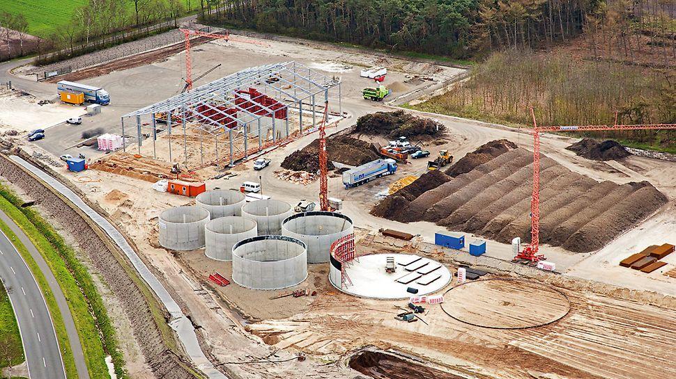 Luftaufnahme der Baustelle: Kompostier- und Vergärungswerk Wietmarschen.