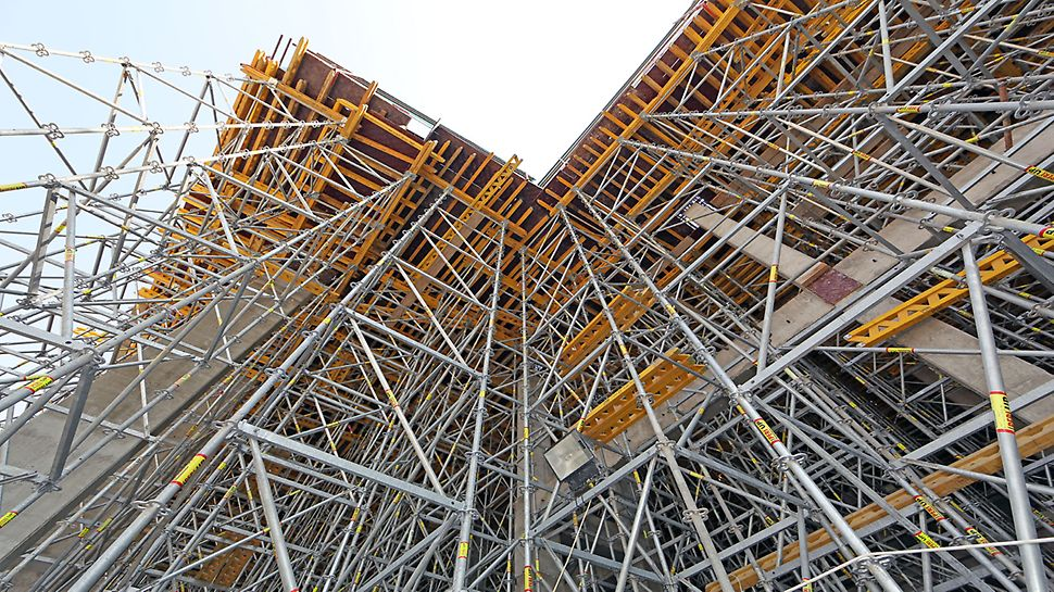 PERI UP shoring system used at various heights supporting the slab formwork