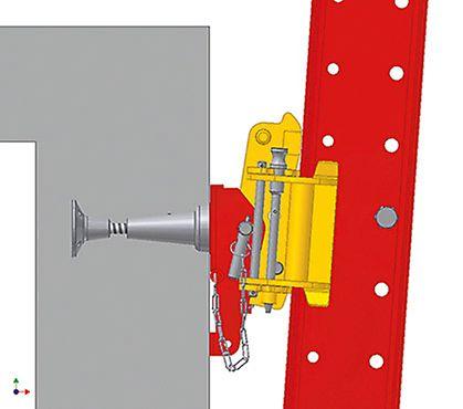 Penjajuća šina RCS može da se nagne za 4° unapred ili unazad, kako bi prešla preko smaknutog zida.