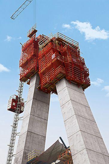 Most Lekki Ikoyi: Pro jeho efektivní zhotovení byly zkombinovány dva šplhavé systémy RCS a ACS do jediné konstrukce optimálně přizpůsobené danému projektu.