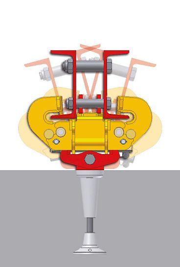 A kúszópapucs csuklós elhelyezése az RCS fali papucsba, mely elforgathatóan használható íves épületeknél.