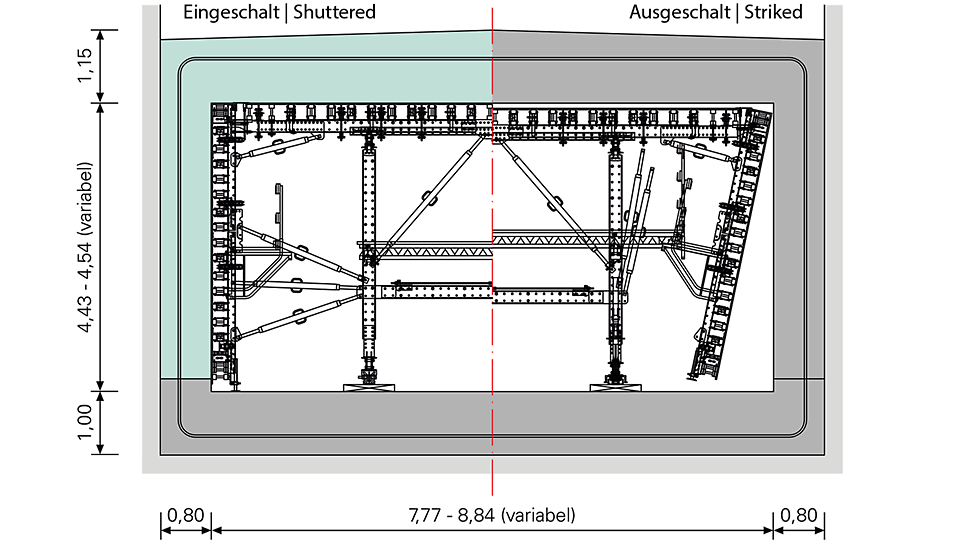 Technical drawing of the load-bearing system solution for the forming of single-sided walls with the help of the VARIOKIT formwork carriage construction.