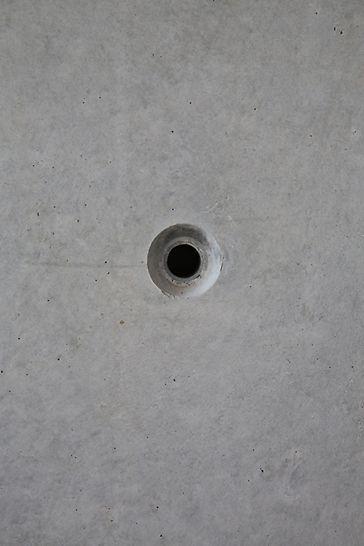 высокое качество поверхности бетона, архитектурный бетон, бетонное молочко, анкерное отверстие